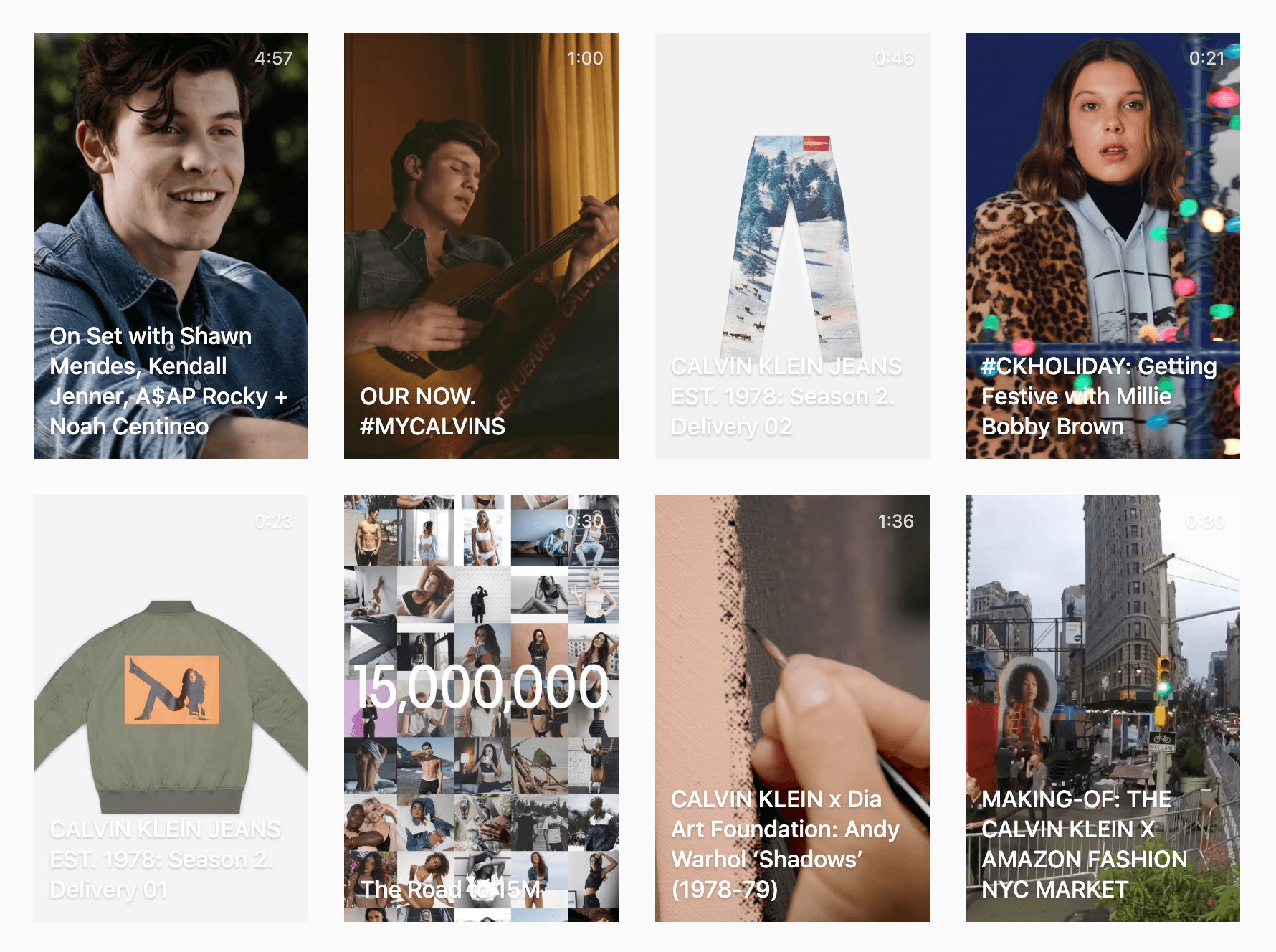 Calvin Klein's Instagram video cover photos