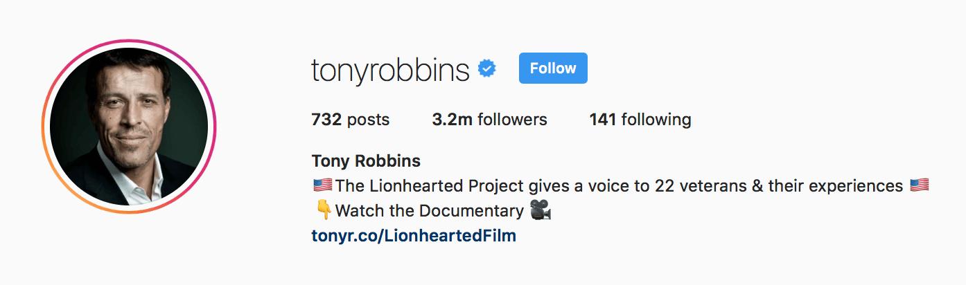 tony robbins instagram bio