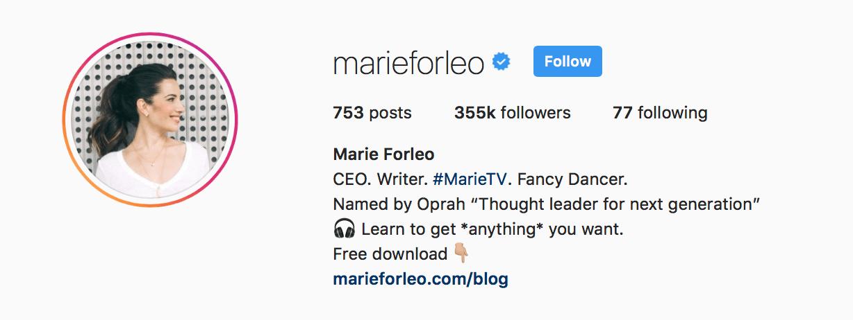 marie forleo instagram bio