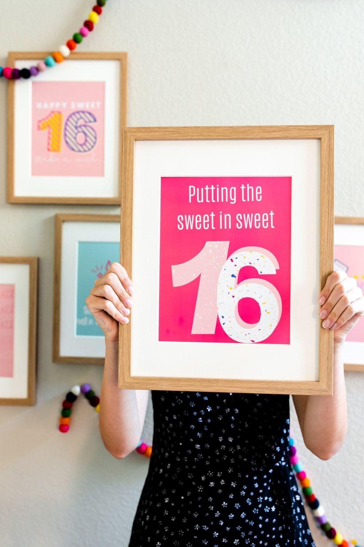Sweet 16 birthday quote decor