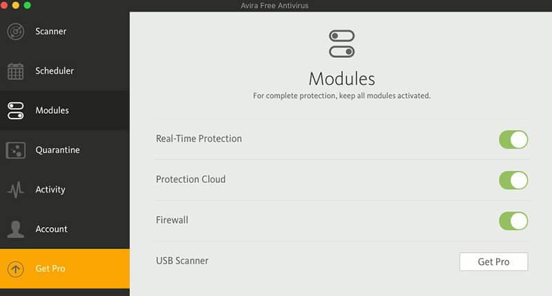 avira for mac modules