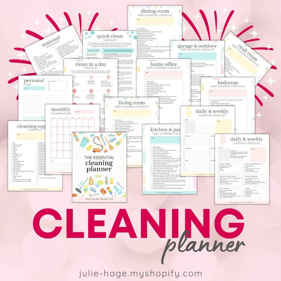 Page layout view of several cleaning checklists from Essential Cleaning Planner on pink bokeh background.