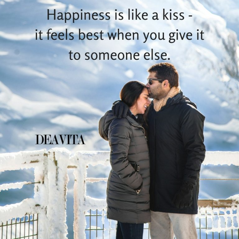 Happiness love and kiss quotes and romantic sayings with images for him and her