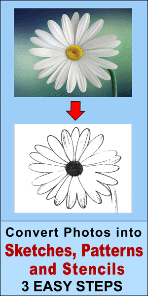 Free online tool that converts a photo to a sketch, pattern, stencil, or line drawing. Create outlines, pencil sketches from images and pictures.