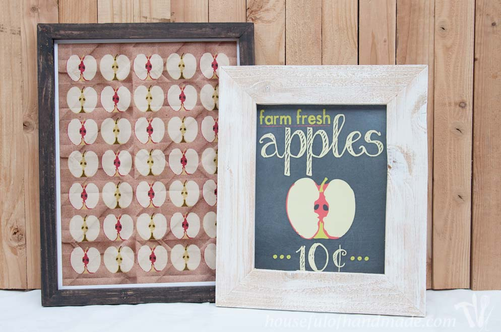 rustic picture frames diy with fall apples