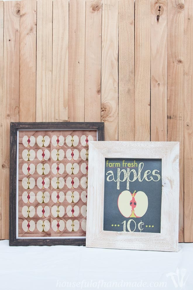 two diy rustic picture frames with fall apples