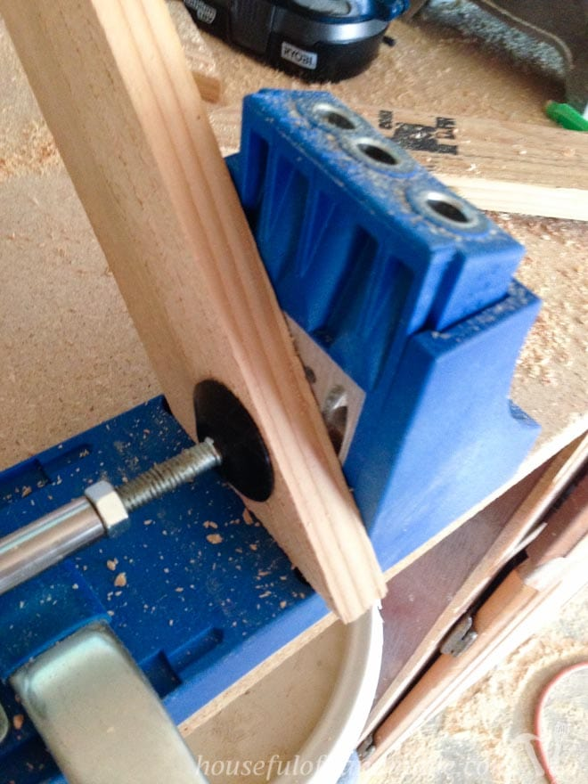 wood shown with Kreg jig for cutting wood frames